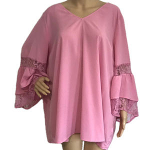 Lane Bryant Lace Ruffle Bell Sleeve Pink Top 22 24